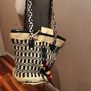 Patricia Nash woven straw and leather bag